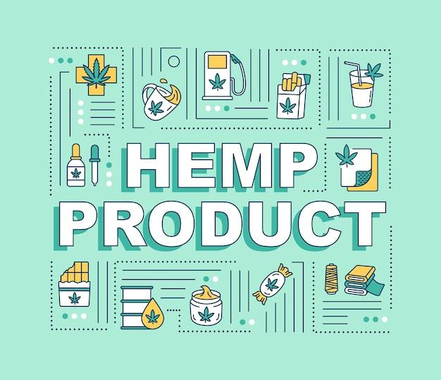 대마 제품 단어 개념 배너입니다. 마리화나, 의료 및 오락용 대마초 사용. 녹색 배경에 선형 아이콘으로 인포 그래픽입니다. 고립 된 인쇄 술입니다. 벡터 개요 rgb 컬러 일러스트