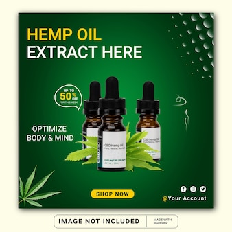 Hemp products social media instagram post banner template or square flyer