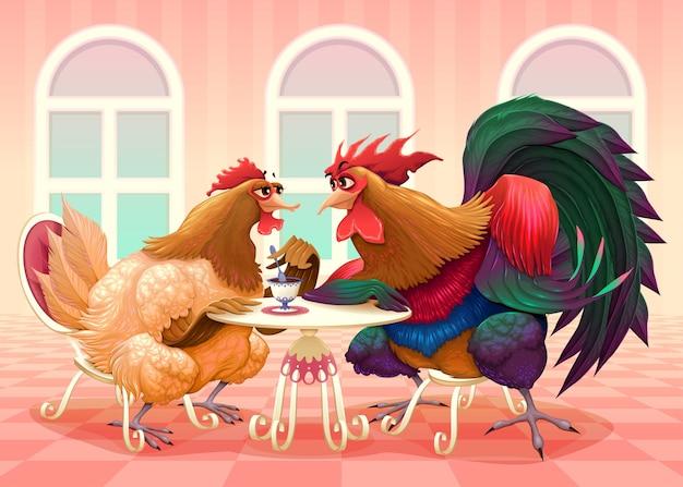 Курица и петух в кафе забавная мультяшная векторная иллюстрация