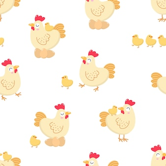 Hen and chick seamless pattern