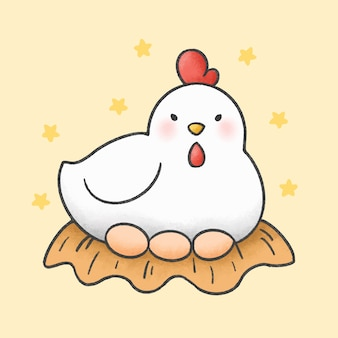 Hen and eggs cartoon hand drawn style