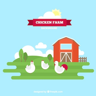Hen house with chickens in flat design