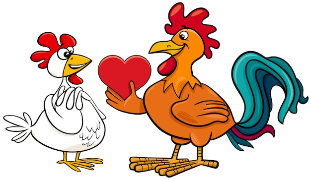 Hen an rooster in love