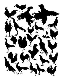 Hen and rooster silhouette