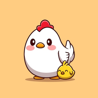 Hen with chick cartoon illustration