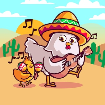 Hen with chick playing musical instrument in mexican theme illustration