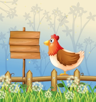 A hen above a wooden fence facing a wooden signboard