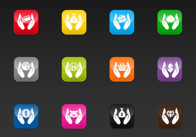 Hend and money vector icons for user interface design