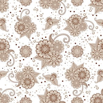 Henna elements with dots seamless pattern