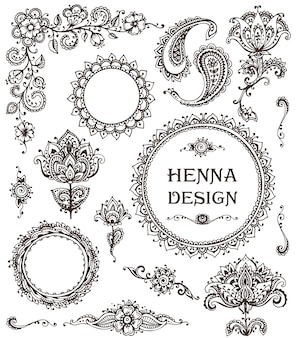 Henna floral elements based on traditional asian ornaments.