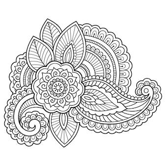 Цветочная иллюстрация татуировки хны