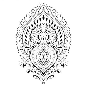 Хна тату цветок шаблон в индийском стиле. этнический цветочный пейсли - лотос. менди стиль. орнамент в восточном стиле.