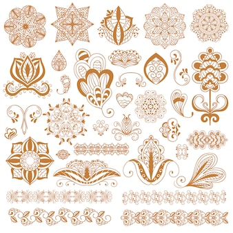 Henna tattoo mehndi flower set