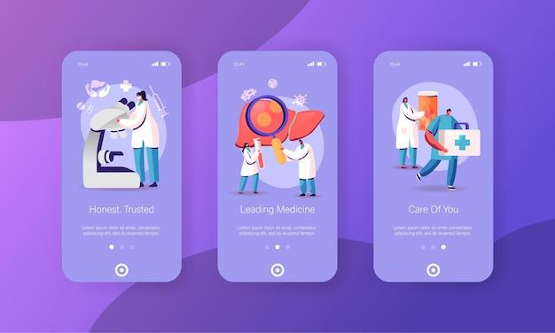 Шаблон экрана страницы мобильного приложения гепатит, цирроз