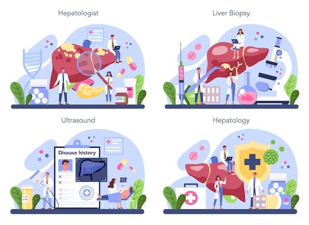 Набор концепций гепатолога. врач делает ультразвуковое исследование печени. идея лечения, гепатологической терапии.