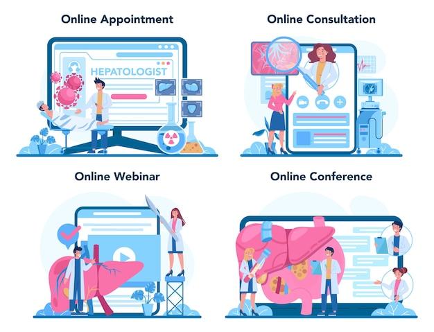 肝臓専門医のオンラインサービスまたはプラットフォームセット