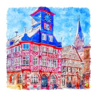 헤펜하임 독일 수채화 손으로 그린 그림