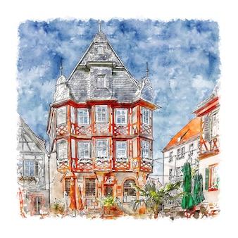 Heppenheim 독일 수채화 스케치 손으로 그린 그림