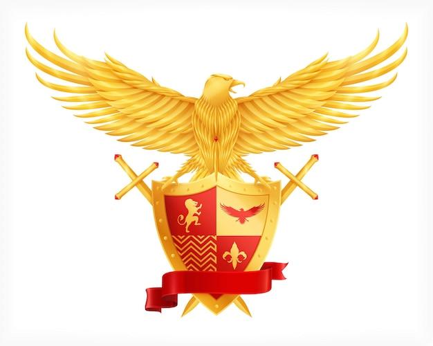 Геральдический щит животных с реалистичным орлом
