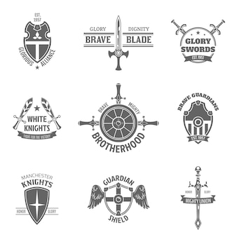 Heraldic coat of arms labels set