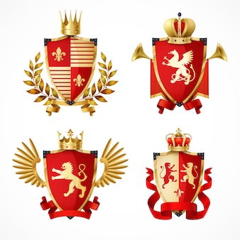 Heraldic coat of arms on shields realistic set