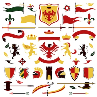 Heraldic elements set colored