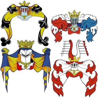 Heraldic helmets set