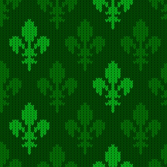 Heraldic lily on a seamless vector woolen pattern