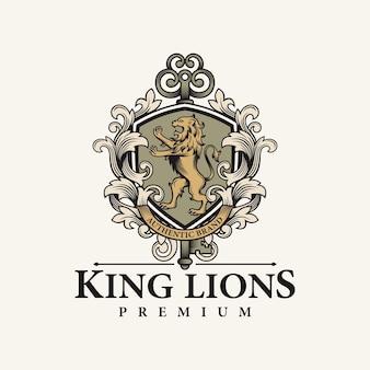 紋章のライオンとキーのロゴ