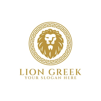 Heraldic lion greek logo template