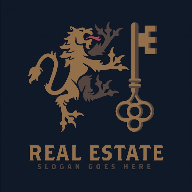 Heraldic lion and key