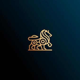 Heraldic lion logo design icon illustration