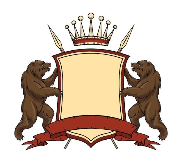 Геральдический элемент логотипа. медведи со щитом и лентой.