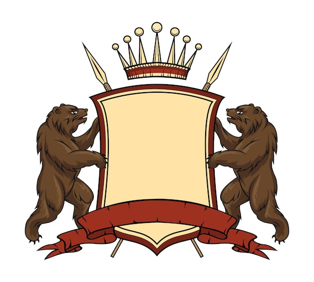Heraldic logo element. bears with shield and ribbon.