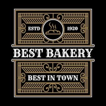 Heraldic luxury vintage bakery shop logo template with decorative ornamental emblem frame