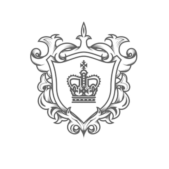 Heraldic monarch blazon, imperial coat of arms with shield