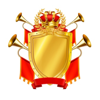 Heraldic realistic  design concept  with golden shield crown and king fanfares decorates by red flags  illustration,