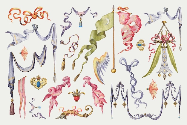 Nastro araldico e bandiera raccolta vettoriale medievale, remix da the model book of calligraphy joris hoefnagel e georg bocskay