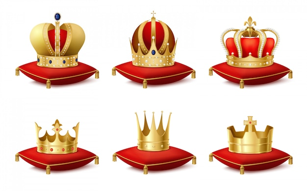 Heraldic royal crowns on cushions realistic set