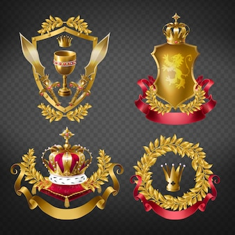 Heraldic royal emblems with golden monarch crowns, shield, laurel branches wreath, ribbon, goblet and sword