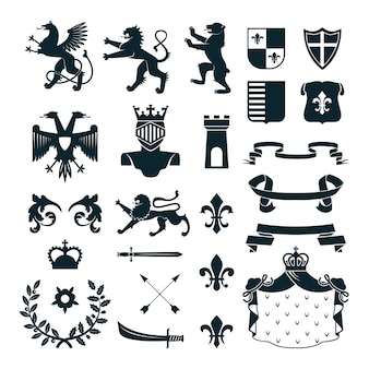 Heraldic royal symbols  emblems  design and  family coat of arms elements collection black abstract isolated vector illustration