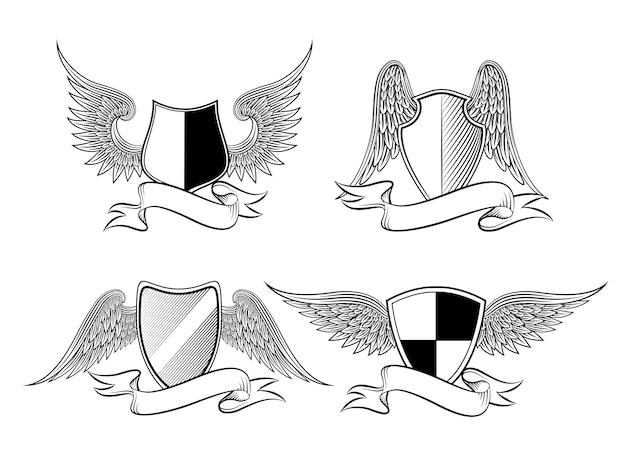 ロゴ、エンブレム、シンボル、タトゥー用の翼とリボンが付いた紋章入りの盾。ベクトルイラスト