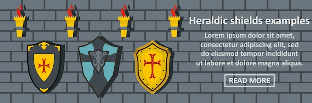 Heraldic shields examples banner template horizontal concept