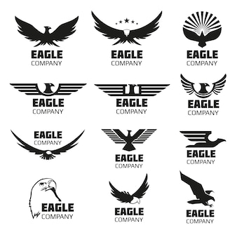 Heraldic symbols with eagle silhouettes