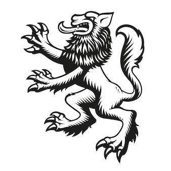 Геральдический вектор волк, изолированные на белом фоне