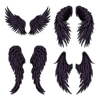 Heraldic wings set for tattoo design.