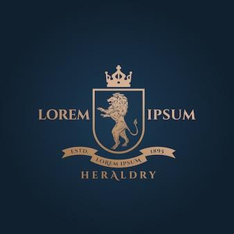 黄金のライオンと紋章の紋章抽象的なベクトル記号、記号またはロゴのテンプレート
