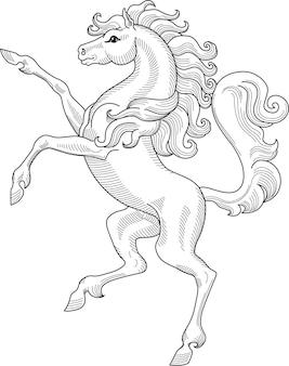 白で隔離の上昇馬の紋章手描きベクトルイラスト