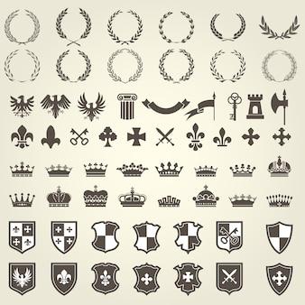 Геральдический комплект из рыцарских гербов и элементов герба - средневековые геральдические эмблемы