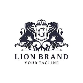 Геральдика лев дизайн логотипа бренда